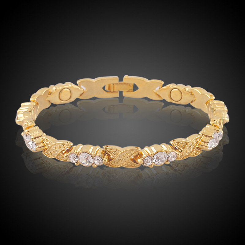 New Arrival 18k True Gold Plated Crystal Rhinestone Bracelets &amp; Bangles For Women Magnetic Fashion Health Bracelet Lady Jewelry<br><br>Aliexpress