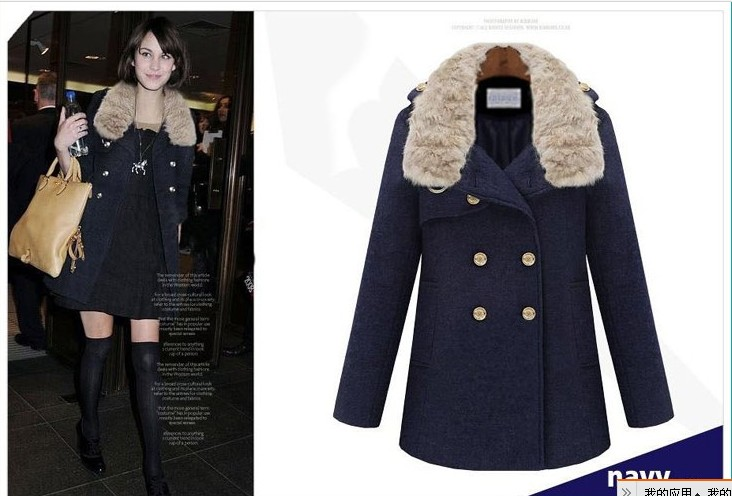 2013 plus size fur collar double breasted woolen overcoat female winter rabbit outerwear medium-long - bingwen chen's store