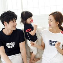 Дети лето 2016 Корейский мальчики девочки с коротким рукавом Футболки мать отец ребенка футболка семьи сопоставления одежда пары одежды(China (Mainland))