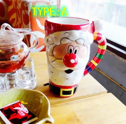 Santa Claus Ceramic mug Cute cartoon mug Pretty elk Cup Great Christmas atmosphere(China (Mainland))