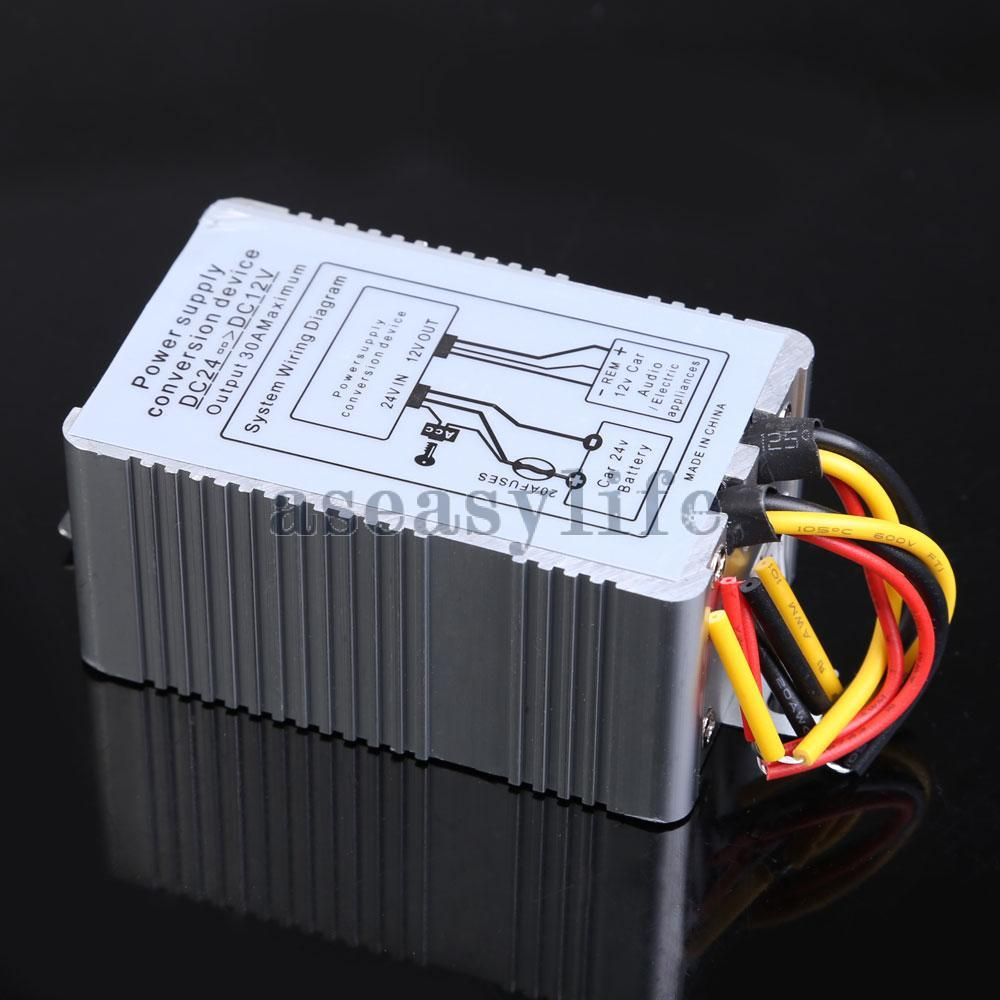 24V to 12V DC-DC Car Power Supply Inverter Converter Conversion Device 30A ASAF(China (Mainland))