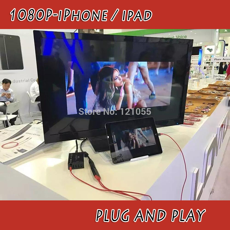 hdtv adapter for iphone 7 6 5S plus ios 10 hdmi CABLE MHL lightning apple ipad mini air pro to TV BOX ipod converter projector(China (Mainland))