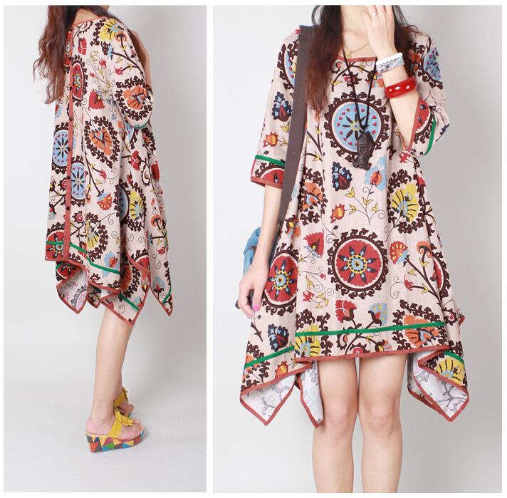 2015 new arrivals summer bohemian clothing large size cotton dress personality linen dress female half sleeve knee length dress(China (Mainland))