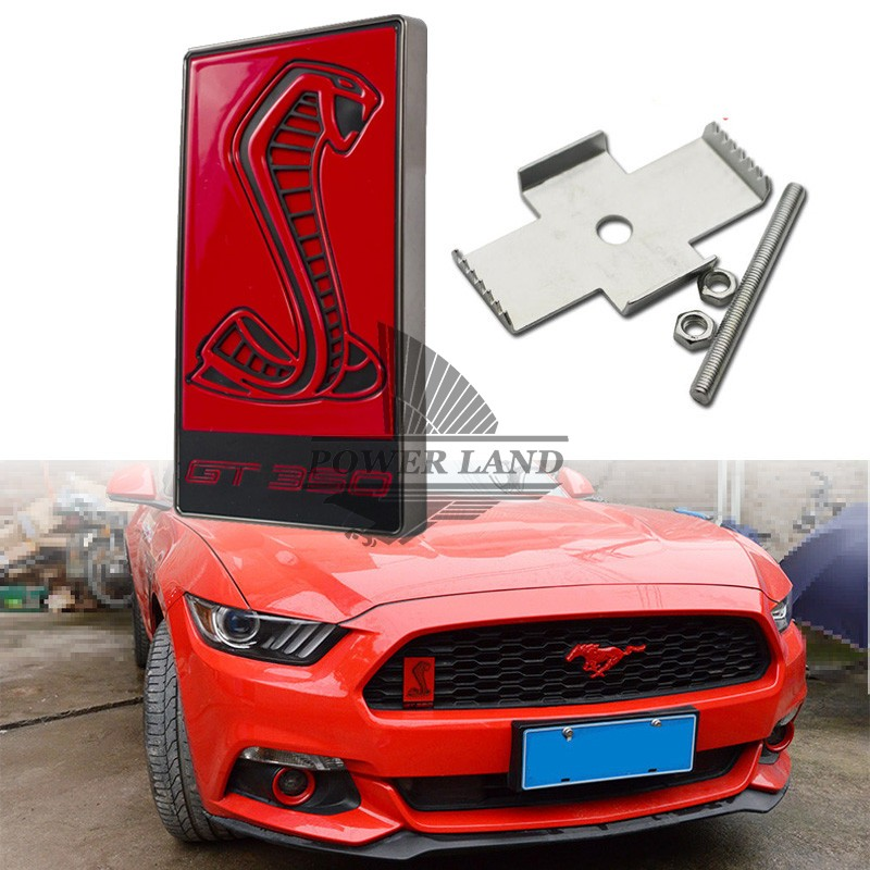 Car Styling 3D Metal Red Cobra GT350 Logo Front Hood Grille Badge Grille Emblem Auto Stickers Car Decal For Ford Mustang Shelby(China (Mainland))