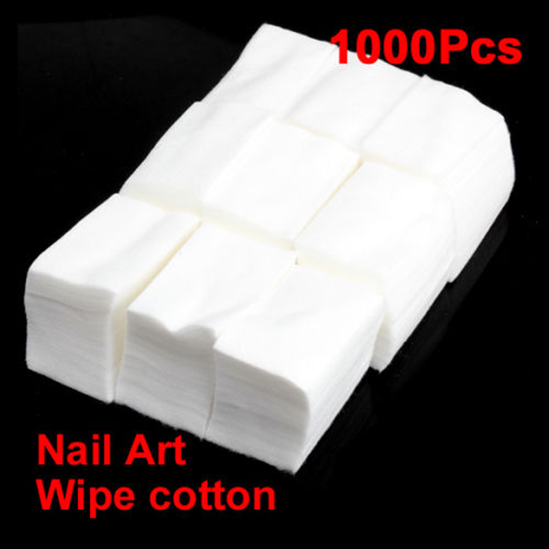 Wholesale 1000pcs Acrylic Cosmetic Cotton UV Gel Nail Polish Remover Cleaner Wipes Lint Cotton Pads Paper Free Shipping NB192(China (Mainland))