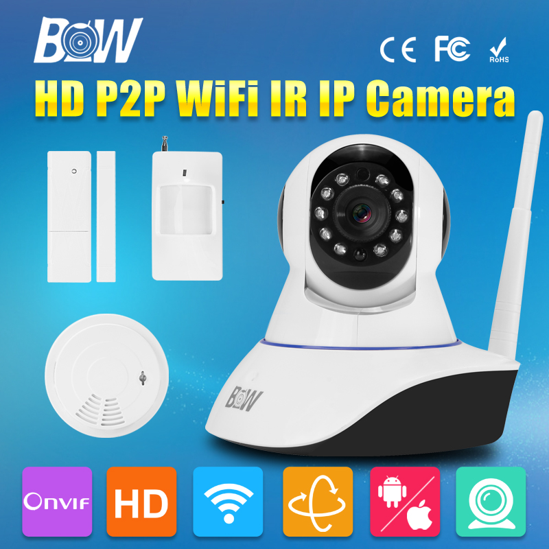 BW CCTV IP WiFi Wireless Camera P2P + Infrared Motion & Door Sensor + Smoke Detector Video Surveillance Security Camera IR-Cut(China (Mainland))