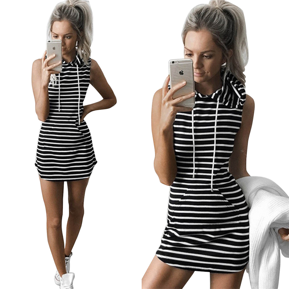 2016 new arrival summer dress fashion casual stripe printed sleeveless hooded dress with pockets female vestidos free shipping(China (Mainland))