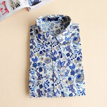 2016 Floral Turn-Down Collar Cotton Shirt Blusas Feminino Ladies Blouses Vintage Long Sleeve Blouse Cherry Womens Fashion Tops(China (Mainland))