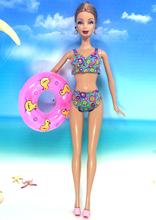 NK Doll Swimwear Beach Bathing Clothes Swimsuit+Slippers+ Swimming Buoy Lifebelt Ring For Barbie Doll Best Girl' Gift 007B