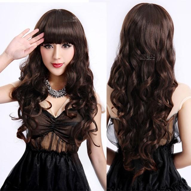 Дамы длинные вьющиеся волнистые термостойкого косплей женщин естественно, как настоящие волосы черные синтетические парики с челкой Perucas парики