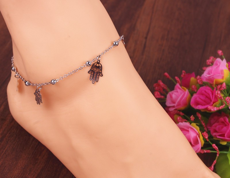 Hot sale fashion hamsa fatima hand anklet beach foot jewelry ankle bracelets for women JL0017