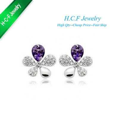 2016 New 18K GP Special Off 40% Christmas Gifts Five Grass Multicolor Five Which Crystal Stud Earrings Free Shipping(China (Mainland))