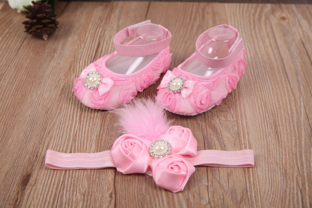 2015 christening infant boots baby girls pink shoes pearl Headband Set,Brand tennis girl shoes flower diamond feather headband(China (Mainland))