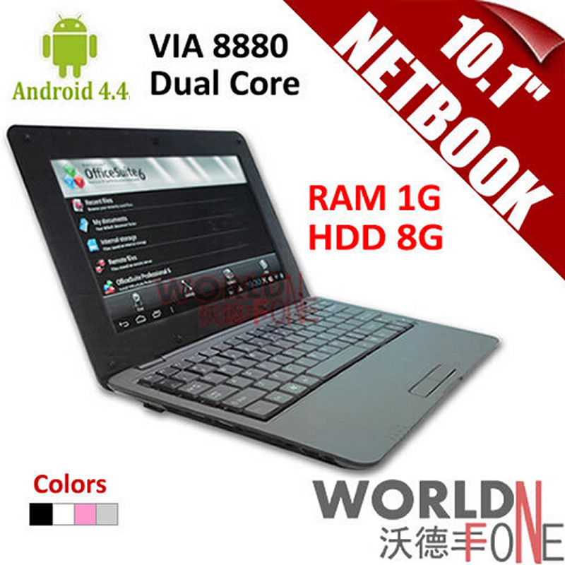 "10.1inch 10.1"" Netbook VIA 8880 Dual Core PC Android 4.4.2 CPU 1.5GHz Wifi 1G RAM 8GB HDD HDMI (Russian Keybard option)(China (Mainland))"