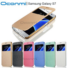 Quick view window leather case for Samsung Galaxy S7 for S7 wallet cover flip phone Sleeves