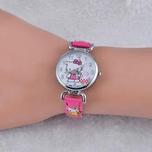 Cartoon watch kid thin strap quartz wristwatch hello kitty mini style popular 2016 pink&red hellokitty Clock montre enfant