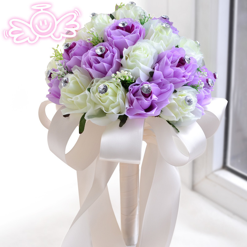 Bridal Bouquet Out Of Ribbons : New lilac rose bridal wedding bouquet cream ribbon