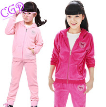 Autumn Girls Sports Suit Velvet Children Clothing Sets Two piece Baby Kids Sportswear Big Child Hoodies Jacket & Pants Twinset
