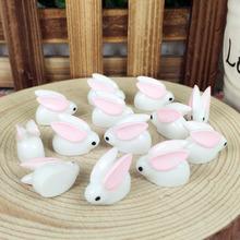 10 Pieces Fairy Garden Miniatures Terrarium Figurines Rabbit DIY Kawai Resin Cabochons Flat Back Resins Decoration Craft 11*20MM