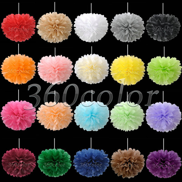 10pcs/lot 8 Inch (20cm) Tissue Paper Pom Poms Paper Flower Balls Crafts Christmas Wedding Party Decoration Lot Color(China (Mainland))