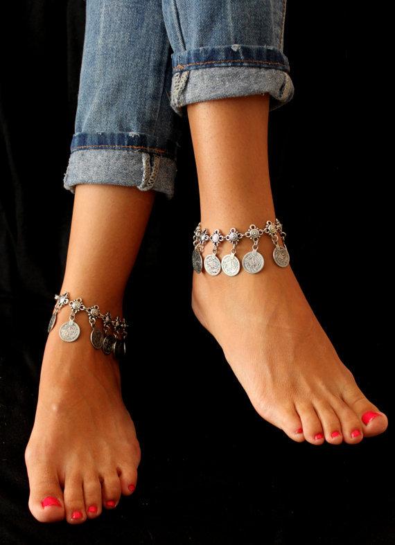 Women Men New Coin Dangle Wave Metal Anklet Bracelet, Bohemian Adjustable Anklets Bracelet Foot Chain bracelet for women jewelry(China (Mainland))