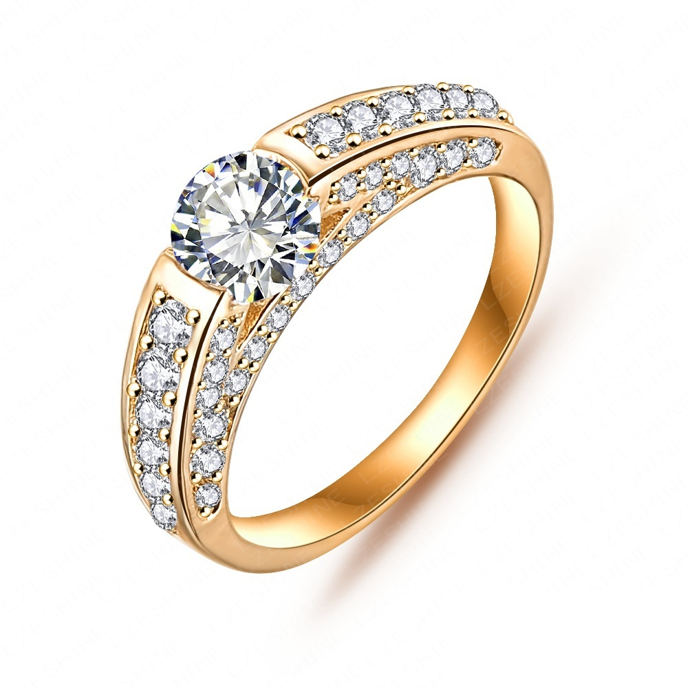 Hotest Women Accessories Rings Real Platinum/18K Gold Plated Micro Pave Clear AAA Cubic Zircon Classic Ring CRI0026(China (Mainland))