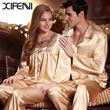 2016 Hot Sale Spring Silk Couple Pajamas Sets Woman Silk Lace Pyjamas  Sleepwear Man homewear(China (Mainland))