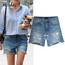 European Plus Size XXXXXL Summer Style Ripped Jeans For Women Clothing High Waist Torn Denim Shorts Female 2016