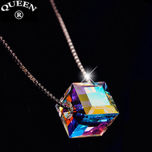 925 Sterling Silver Fashion Svarovski Elements Crystal Magic Cube Necklace Pendant Box Chain Charming Fine Jewelry Accessories