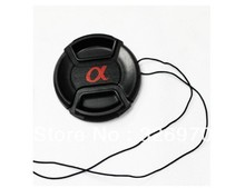 Free Shipping + Tracking number 52 mm Center Pinch Snap-on Front Lens Cap hood Cover for sony DSLR SLR Alpha with Strap