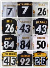 100% stitched Men's 7 Ben 43 Troy 50 Ryan 84 Antonio 26 LE'VEON 83 Heath 92 JAMES black and white elite jerseys(China (Mainland))