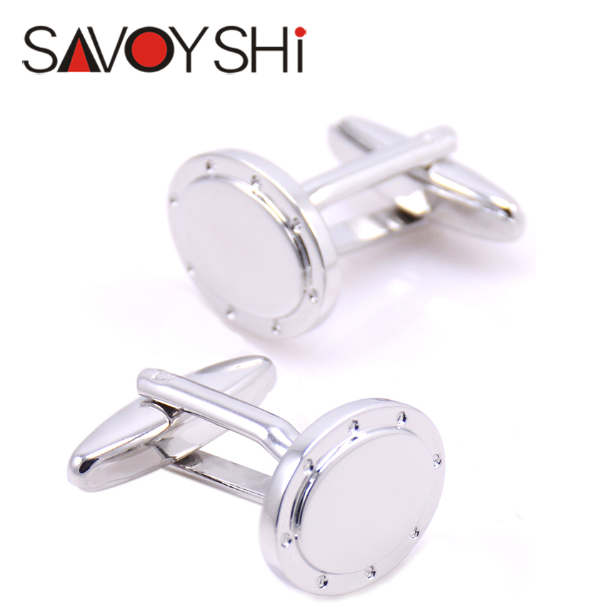 Silver Cufflinks for Mens French Shirt High quality Brand Business Gift Cuff bottons Stainless steel NVT Jewelry Free Shipping(China (Mainland))