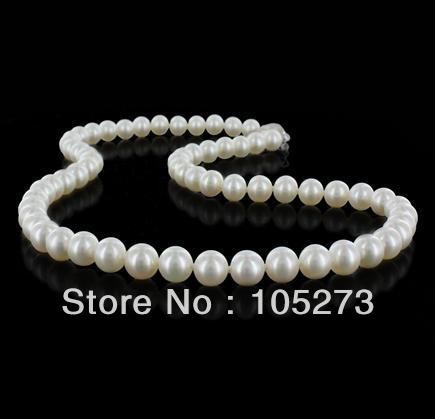 Natural Pearl Jewelry AA 9-10MM White Color Cultured Freshwater Pearl Necklace Round Shaper 18 Top Quality New Free Shipping<br><br>Aliexpress