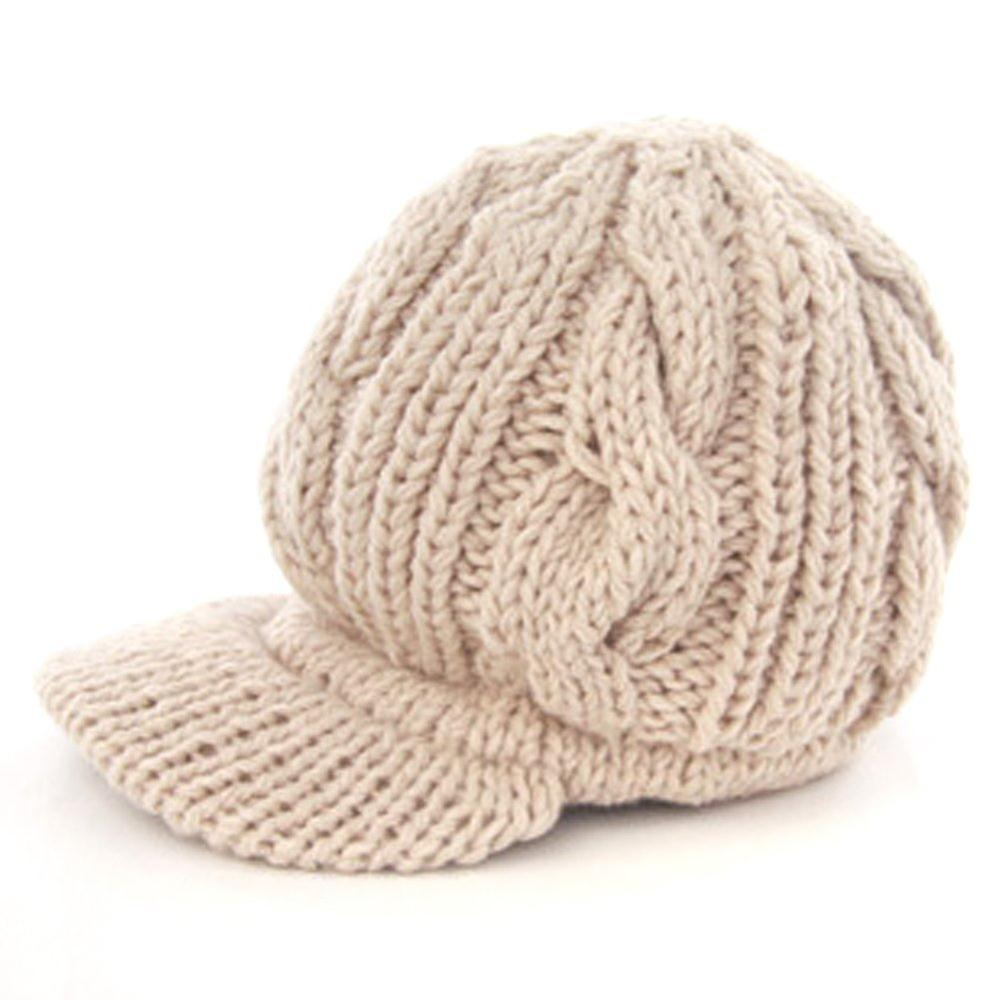 FS Hot Women Slouchy Cabled Pattern Knit Beanie Crochet Rib Hat Warm - Beige(China (Mainland))