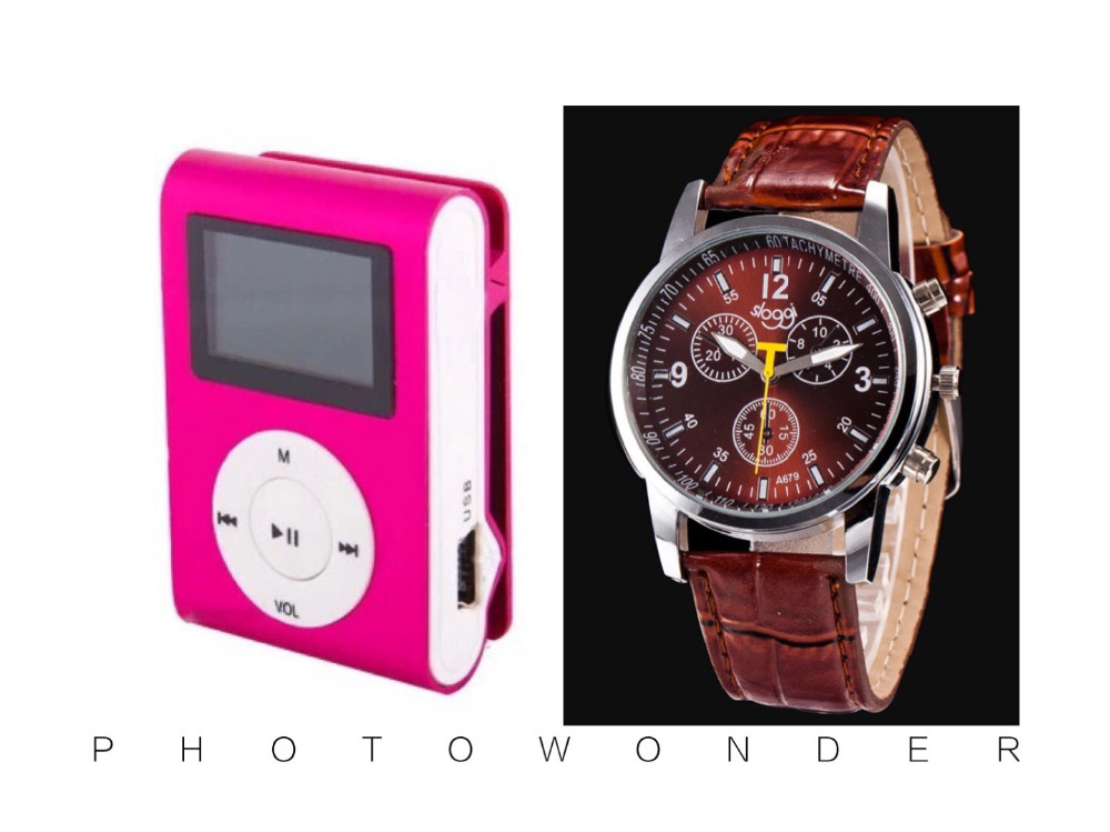 Wholesale 2 pcs (1 set) Quality Clip ONLY Sports MP3 Watch Music Player with Screen, FM radio, TF card Slot(China (Mainland))