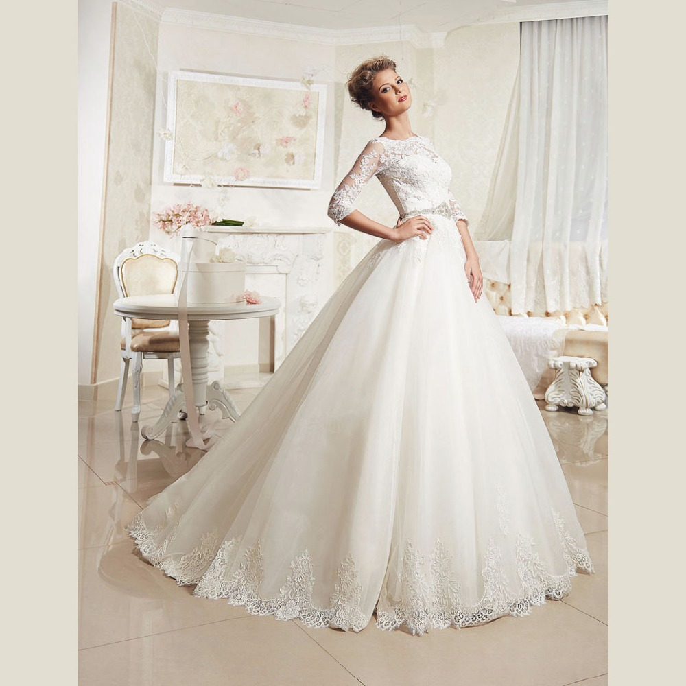 Buy elegant lace wedding dresses with for Elegant long sleeve wedding dresses