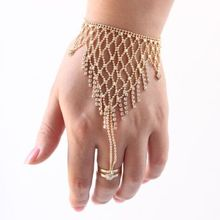 New Hot sale A Pair Belly Dance Jewelry tassels Bracelet Hand Chain Nail Cover Metal Chain Finger Set girl gift free shipping(China (Mainland))