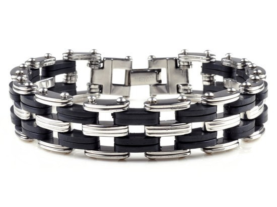 New-Men-s-High-Quality-Stainless-Steel-Bracelet-Silver-Link-Black-Rubber-Bangle (7)