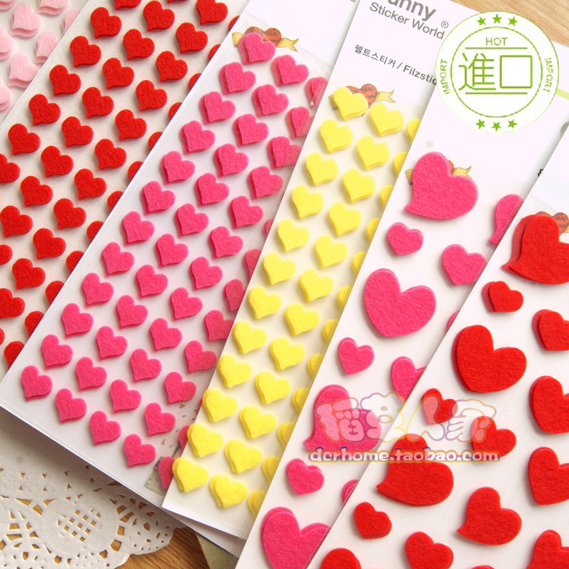 import stickers South Korea stationery felt three-dimensional decorative lovely love album pocket sticker(China (Mainland))