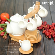 Natural natural ceramic japanese style bamboo tea set hanging teacup teapot 6 set 1 pot 6 cup