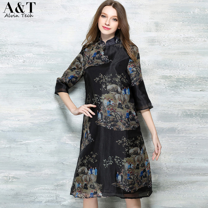 2016 Autumn Vintage Retro Black Oil Painting Picture Prints Straight Midi Dresses Women Casual Tunic Dress Clothing(China (Mainland))