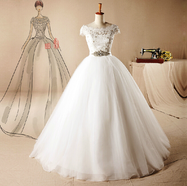 High end custom made short sleeves wedding dresses 2015 for High end wedding dress