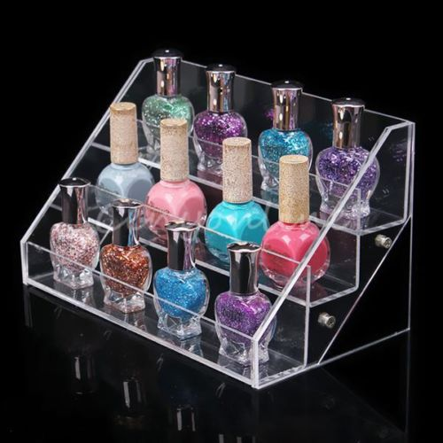 3 Tier 30 Bottles Acrylic Makeup Organizer Display Stand Rack Nail Polish Salon Wall Cosmetic Holder(China (Mainland))