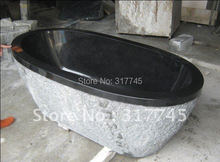 wholsale 63''L,black granite high polish unique handmake craft , hot sale stone tubs unique(China (Mainland))