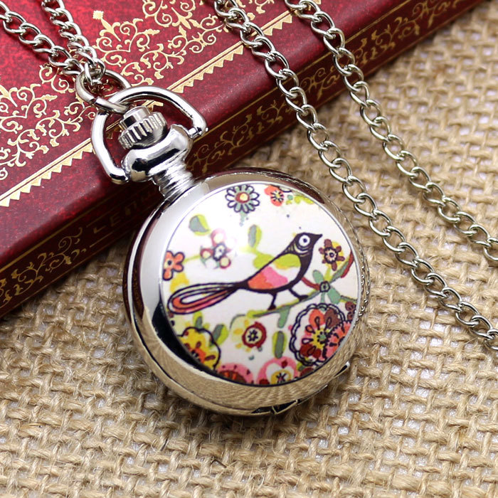 2015 wholesale buyer price good quality new fashion vintage beautiful nice silver flower bird pocket watch necklace chain P595(China (Mainland))