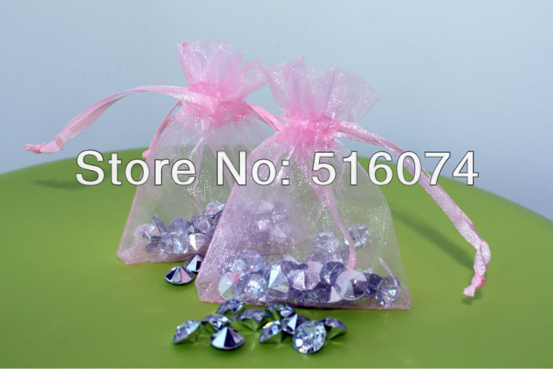 100x Light pink Organza Pouch Gift Bags Fit Wedding invitations gift bag ,best gift for visitor in wedding ,HQ(China (Mainland))