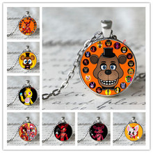 5 Five Nights at Freddy's Necklace Toys FREDDY FAZBEAR Scrabble Tile Pendant necklace glass cabochon children christmas gift(China (Mainland))