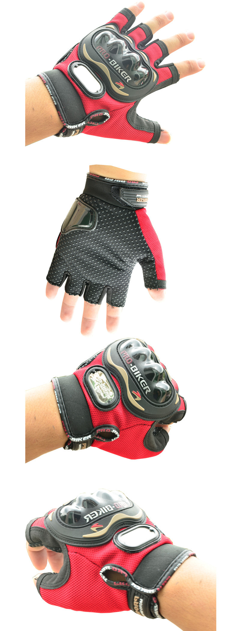 red motorcycle gloves detial