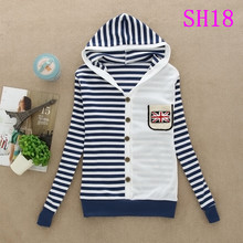 12 color 2015 Spring and summer autumn style kawaii Women's brand full sleeve striped hooded sweatshirts free shipping(China (Mainland))