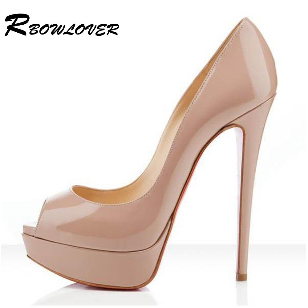 2015 New Women Genuine Leather Pumps,Ladies14/16cm High Heel Platform Open-Toe Red Bottom Sexy Shoes<br><br>Aliexpress